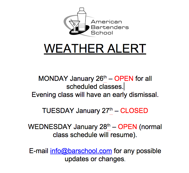 Barschool Winter Weather schedule