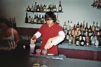 Steve P practices making drinks