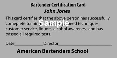 American Bartenders School NYC Certification Card