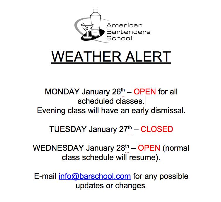 Barschool Winter Weather schedule
