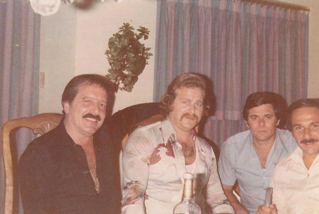 "Linda's father with his crew. From left, Robert ""Bobby Zam"" Zambardi, unknown, Joseph ""Joe Brewster"" DeDomenico."